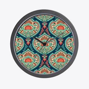 Ornate Paisley Pattern Wall Clock