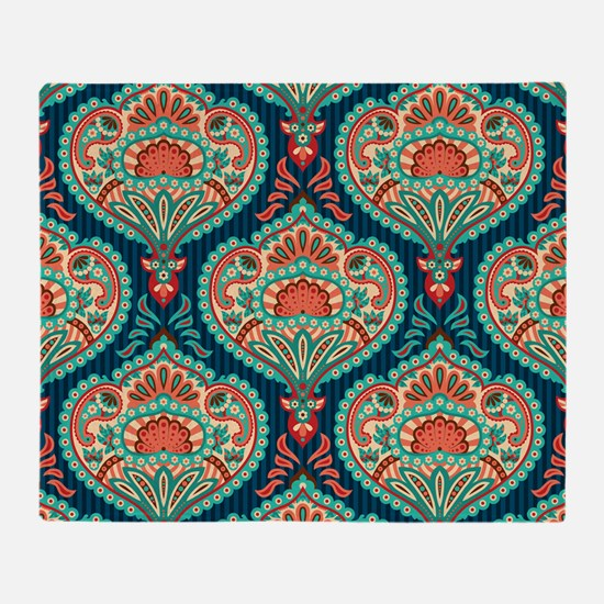 Ornate Paisley Pattern Throw Blanket