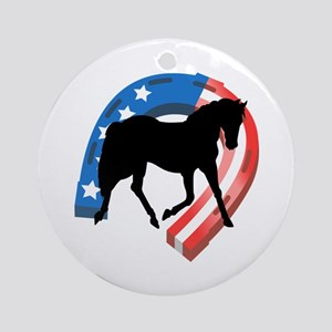 AMERICAN HORSE SHOE Ornament (Round)