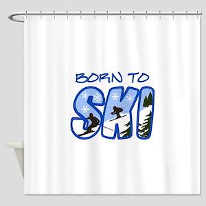 BORN TO SKI Shower Curtain