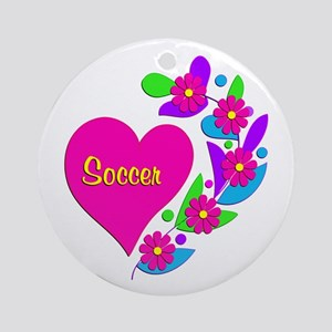 Soccer Heart Ornament (Round)