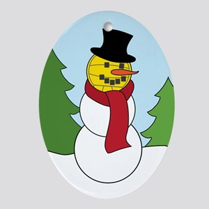 Water Polo Snowman Oval Ornament