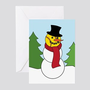 Fastpitch Snowman Greeting Cards