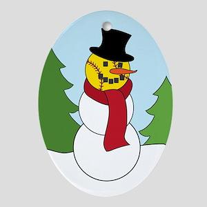 Fastpitch Snowman Oval Ornament