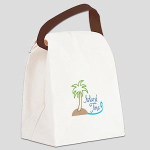ISLAND TIME APPLIQUE Canvas Lunch Bag