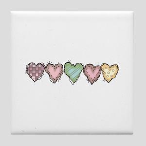 HOMESPUN HEARTS BORDER Tile Coaster