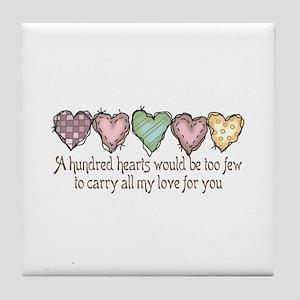 A HUNDRED HEARTS Tile Coaster