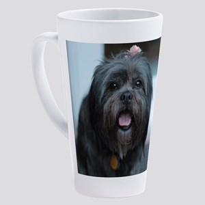 smiling lhasa type dog 17 oz Latte Mug