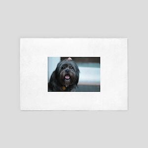 smiling lhasa type dog 4' x 6' Rug