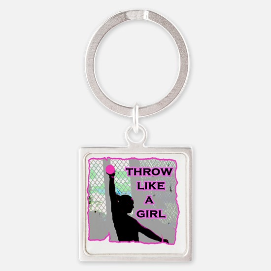 Throw like a Girl Square Keychain