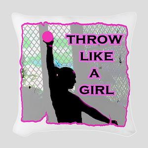 Throw like a Girl Woven Throw Pillow