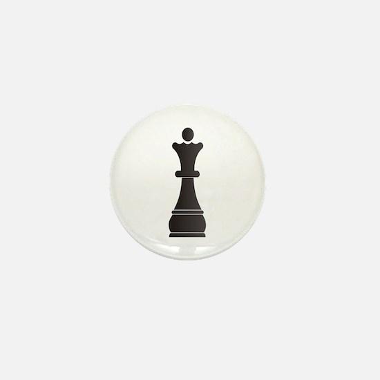 Black queen chess piece Mini Button