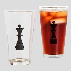 Black queen chess piece Drinking Glass