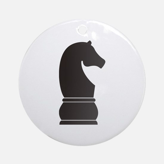 Black knight chess piece Ornament (Round)
