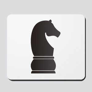 Black knight chess piece Mousepad