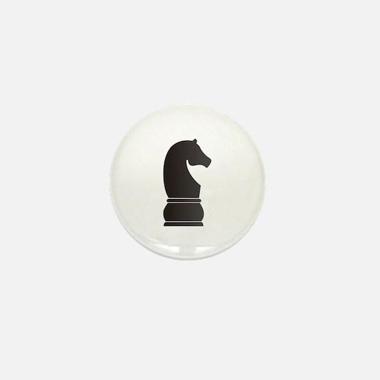 Black knight chess piece Mini Button
