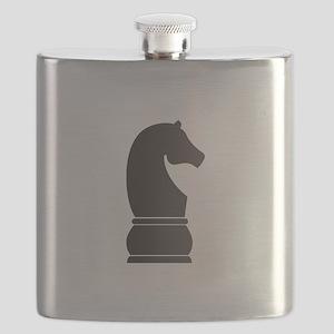 Black knight chess piece Flask