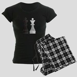Black king white queen chess Women's Dark Pajamas