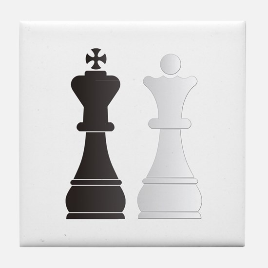 Black king white queen chess pieces Tile Coaster