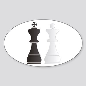 Black king white queen chess pieces Sticker