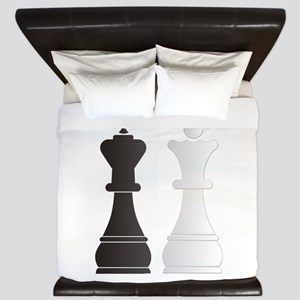 Black king white queen chess pieces King Duvet
