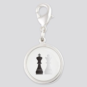 Black king white queen chess pieces Charms