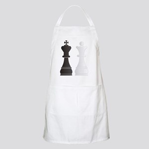 Black king white queen chess pieces Apron
