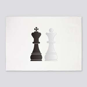Black king white queen chess pieces 5'x7'Area Rug