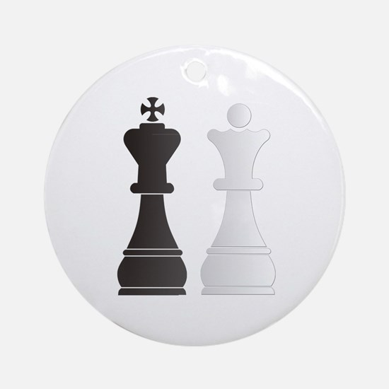 Black king white queen chess piec Ornament (Round)