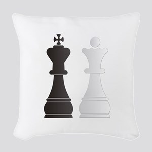 Black king white queen chess p Woven Throw Pillow