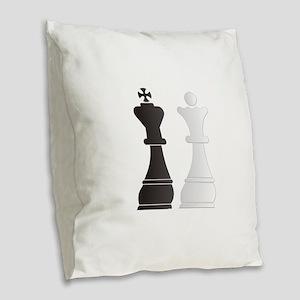 Black king white queen chess p Burlap Throw Pillow