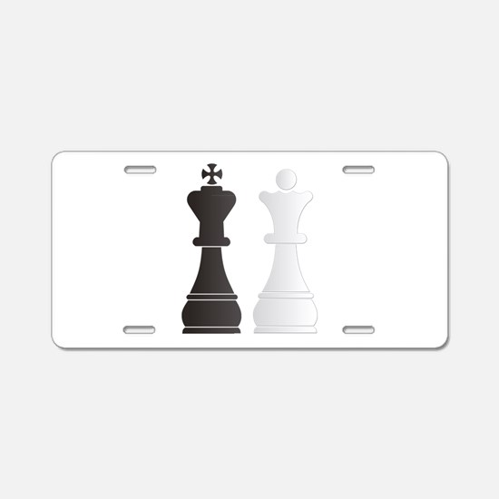 Black king white queen ches Aluminum License Plate
