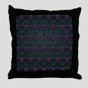 Teal and Purple Damask Skulls Throw Pillow