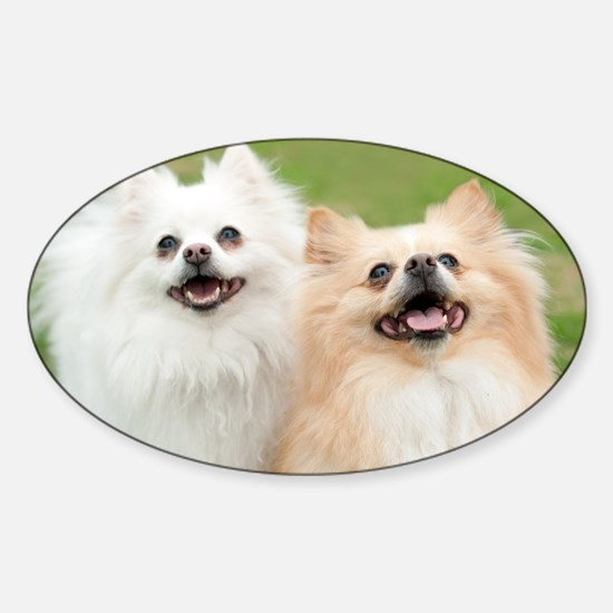 Two Dogs Smiling Sticker (Oval)
