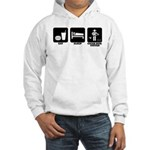 Eat Sleep Cigar Box Guitar Redne Hooded Sweatshirt