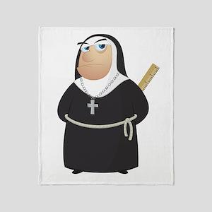 Angry Nun Throw Blanket