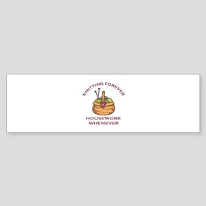 KNITTING FOREVER Bumper Sticker