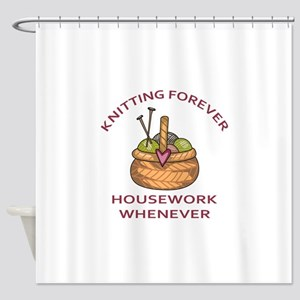 KNITTING FOREVER Shower Curtain
