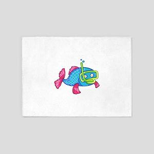 FISH SNORKELING 5'x7'Area Rug