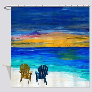 Two of us at the beach Shower Curtain