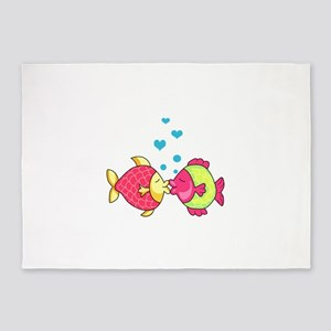FISH WITH HEART BUBBLES 5'x7'Area Rug