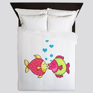 FISH WITH HEART BUBBLES Queen Duvet