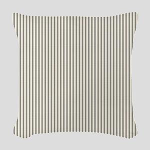 Black Ticking Woven Throw Pillow