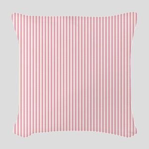 Pink Ticking Woven Throw Pillow