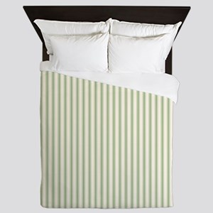 Green Ticking Queen Duvet