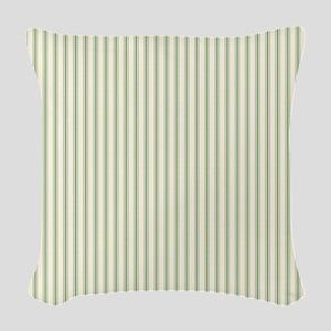 Green Ticking Woven Throw Pillow