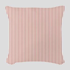 Red Ticking Woven Throw Pillow