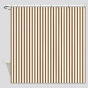Brown Ticking Shower Curtain