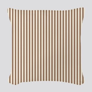 Brown Ticking Woven Throw Pillow