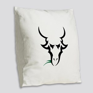 TRIBAL GOAT Burlap Throw Pillow